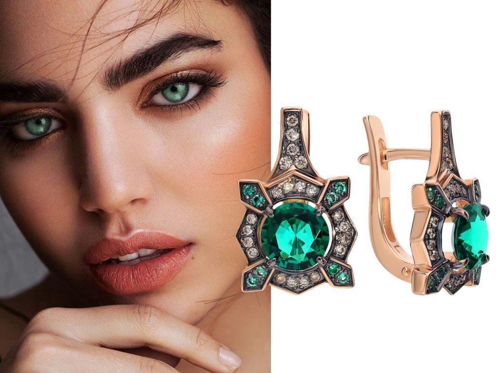 Серьги с драгоценными камнями: выбор украшения по цвету глаз